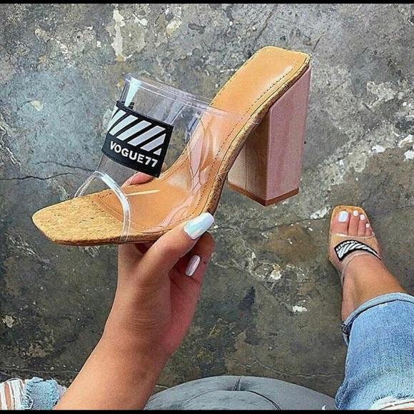 Beauty Clear /& Gold High Heel Clog Style Sandal